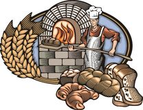 Baker Vector Illustration in Woodcut Style. Vector illustration of a baker, baking bread in a fire oven, done in retro woodcut style. Vinyl-ready clipart Royalty Free Stock Image