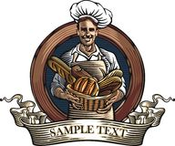 Baker Vector Illustration in Woodcut Style royalty free illustration