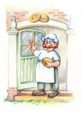 Baker in white apron Royalty Free Stock Photos