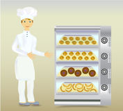 Baker in white dress with a modern electric oven and bread Royalty Free Stock Image