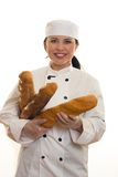 Baker With Bread Sticks Royalty Free Stock Image