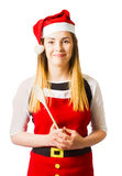 Baker woman in christmas costume Stock Photos