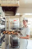 Baker woman getting bakery products out of oven Royalty Free Stock Photography