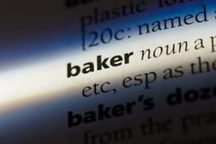 Baker. Word in a dictionary.  concept Royalty Free Stock Photo
