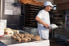 Baker working at Golosaria 2013 in Milan, Italy Stock Photos