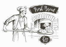 Bakerl烘烤了面包 皇族释放例证