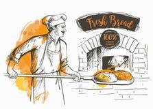 Bakerl a fait le pain cuire au four Illustration Stock