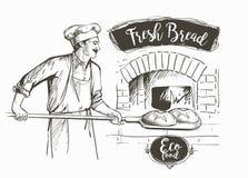 Bakerl gebakken brood royalty-vrije illustratie