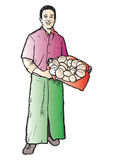 Bakers. Illustration of a symatic Baker boy offering some fresh bread royalty free illustration
