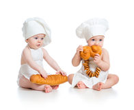 Bakers babies boy and girl stock photography