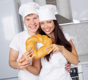 Bakers with bread Stock Photos