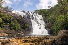 Bakers falls Sri Lanka. Bakers falls. Horton plains national park. Sri Lanka. Panorama stock photo