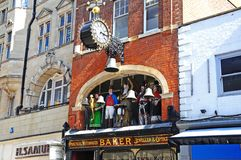 Bakers Jewellers Statues, Gloucester. Royalty Free Stock Photos
