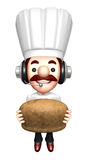 Bakers Lift a bread. Work and Job Character Design Series Royalty Free Stock Images