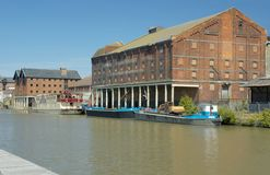 Bakers Quay. Pillar Warehouses on Bakers Quay from Llanthony Quay, Gloucester Docks stock photo