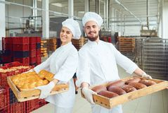Bakers in white uniform with trays of fresh bread standing in a bakery. Bakers man and woman in white uniform with trays of fresh bread standing in a bakery royalty free stock photos