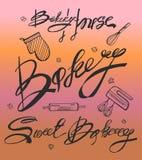 bakersfield Рукописная надпись Нарисованный рукой значок оформления литерности каллиграфии Его можно использовать для signage, ло иллюстрация вектора