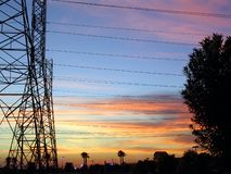 Bakersfield California Sunset High Power Electric Lines Royalty Free Stock Photos