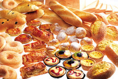 Bakery. Rich bakery foodstuff displayed in store Royalty Free Stock Photography