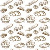 Bakery. Bread - hand drawn pattern vector illustration