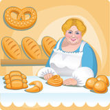 Bakery. Woman selling bread in her bakery Stock Photo