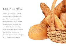 Bakery. Bread in a wicker basket isolate on white background Stock Photography