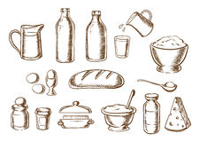 Bakery And Bread Ingredients Sketches Stock Photos