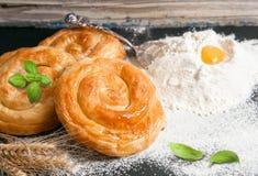Bakery background – cheese pie Stock Photos