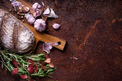 Bakery background, baking ingredients over rustic kitchen countertop. royalty free stock images