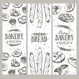 Bakery background. Bread banner collection. Bakery background. Linear graphic. Bread banner collection. Vertical banner set. Bread and pastry collection. Bread stock illustration