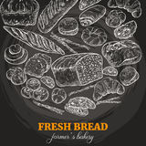 Bakery background, chalk sketch. On dark background, vector illustration Royalty Free Stock Images