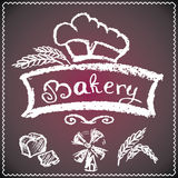 Bakery background, elements,card. chalkboard style Stock Images