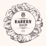 Bakery background Frame with sketch bakery, pastries, sweets, desserts, cake, muffin, bun, macaroons. Template with hand drawn. stock illustration