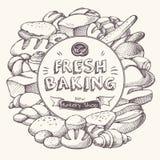 Bakery background Frame royalty free illustration