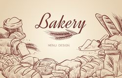 Bakery background. Hand drawn cooking bread bakery bagel breads pastry bake baking culinary vector menu design royalty free illustration