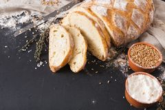 Bakery concept. Plenty of sliced bread background. Bakery background, sliced white bread on black. Flour and grain with copy space stock image