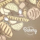 Bakery background. Top view of bakery products on cardboard Royalty Free Stock Images