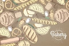 Bakery background. Top view of bakery products on cardboard Stock Photography