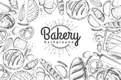 Bakery background. Top view of bakery products. On white background Royalty Free Stock Photos