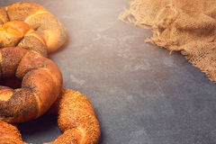 Bakery background with variety of bagels Royalty Free Stock Images