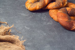 Bakery background with variety of bagels Stock Photography
