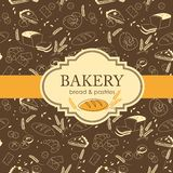 Bakery background. Vintage bakery background with bread and other pastries Royalty Free Stock Image