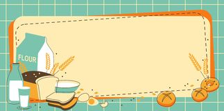 Bakery background. Vintage bakery background with bread and other pastries Stock Photos