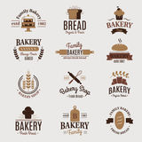 Bakery badge icon fashion modern style wheat vector label design element confectioner sweet-shop loaf and bread logo Royalty Free Stock Image