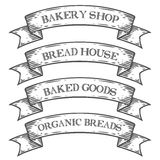 Bakery bake shop market emblem ribbon. Monochrome medieval set vintage engraving. Sign isolated on white background. Sketch  hand drawn illustration. Bread shop Royalty Free Stock Images