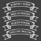 Bakery bake shop market emblem ribbon. Monochrome medieval set vintage engraving. Sign isolated on white background. Sketch vector hand drawn illustration Royalty Free Stock Images