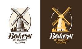 Bakery, bakehouse, bread logo or label. Mill, windmill icon. Handwritten lettering vector illustration Stock Photos