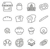 Bakery or Bakehouse Icons Thin Line Vector Illustration Set. This image is a vector illustration and can be scaled to any size without loss of resolution royalty free illustration