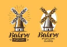 Bakery, bakehouse logo or icon. Bread, mill, windmill label. Lettering vector illustration. Bakery, bakehouse logo or icon. Bread, mill label. Lettering vector royalty free illustration