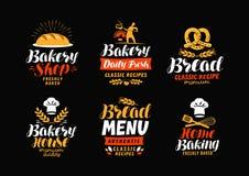 Bakery, bakehouse logo or label. Bread, home baking icon. Lettering vector illustration. Bakery, bakehouse logo or label. Bread, home baking icon. Lettering vector illustration